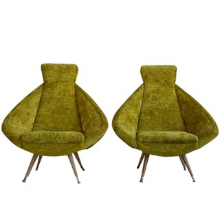 Upholstered Swivel Chairs - Set of 2