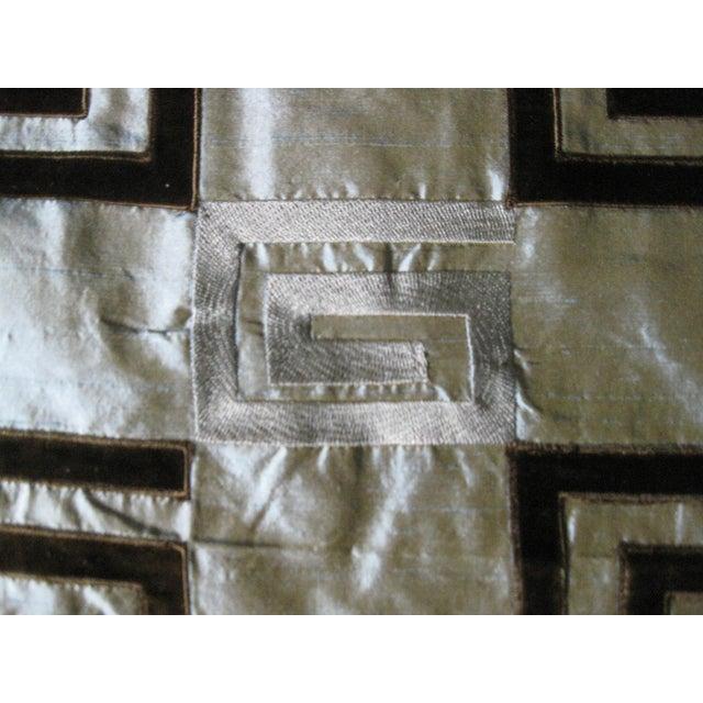 Image of Pale Turquoise Silk Velvet Design Fabric- 10 Yards