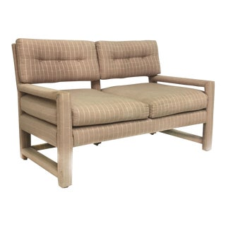 Milo Baughman Style Mid-Century Upholstered Parson Settee