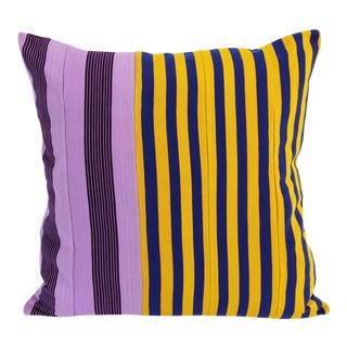 Vintage Purple, Blue & Yellow Striped Yoruba Nigerian Pillow