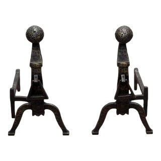 Black Hammered Andirons - A Pair