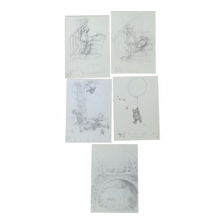 'Winnie the Pooh' Pencil Drawing Prints - Set of 5