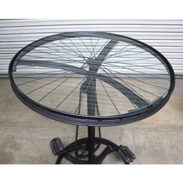 Glass Top Metal Bicycle Bar with Stools Set - Set of 3 - Image 5 of 5