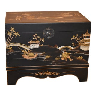 Chinese Asian Inspired Black Storage Chest Trunk