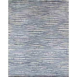 "Modern Blue Bamboo Silk Area Rug - 8'10"" x 11'8"""