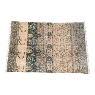"Large Cotton Tapestry Print Rug - 4'6"" X 6'5"""