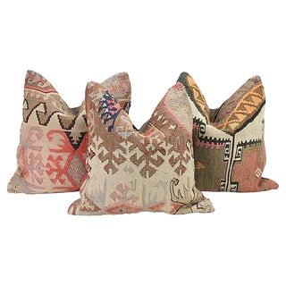 Geometric Turkish Kilim Throw Pillows - Set of 3