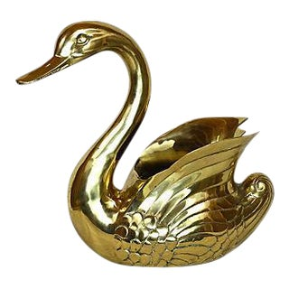 Giant Brass Swan Cachepot