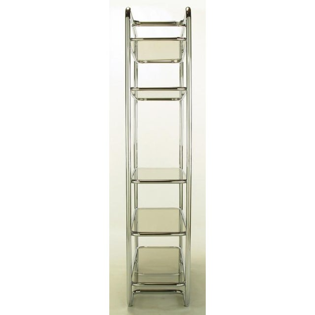 Tubular Chrome & Smoked Glass Five Shelf Etagere. - Image 4 of 10