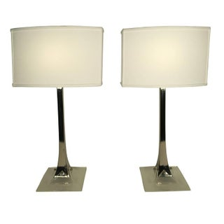 Chrome and Lucite Table Lamps by Laurel - A Pair