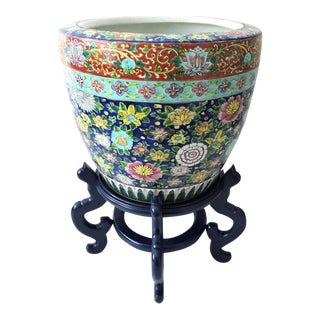 Colourful Vintage Japanese Planter & Navy Stand