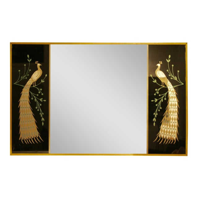 Peacock Embellished Mirror with Slim Gold Frame - Image 1 of 10