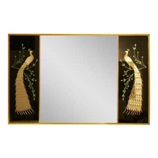 Peacock Embellished Mirror with Slim Gold Frame