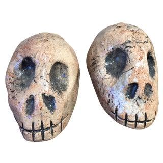 Folk Art Skull Salt & Pepper Shakers - A Pair