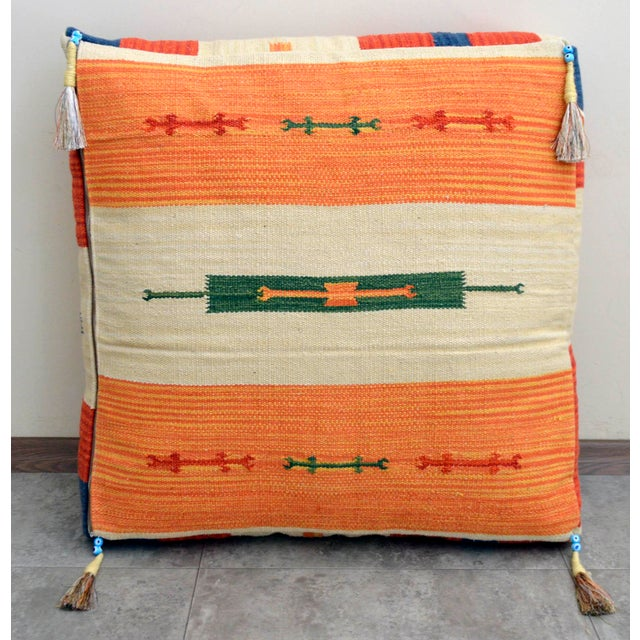 Turkish Hand Woven Floor Cushion Cover Cotton - 26″ X 26″ - Image 4 of 8