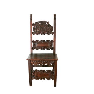 Antique 1460s Hand Carved Gothic Chair