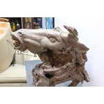 Image of Hand Carved Bust of Horse Head in Wood