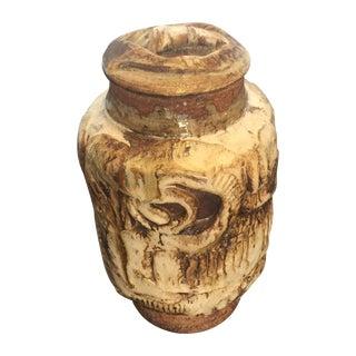 Brutalist Studio Pottery Lidded Jar Vase- Signed