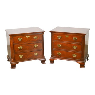 Baker Mahogany Chippendale Style 3 Drawer Chests Nightstands - A Pair