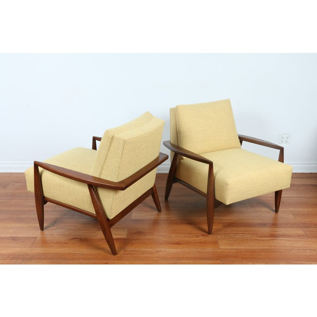 Mid-Century Ecru Lounge Chairs - A Pair - Image 5 of 11