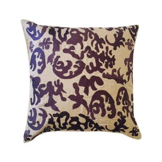 Embroidered Ikat Pillow