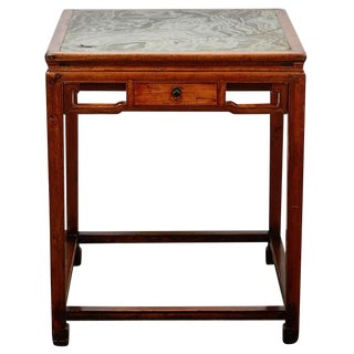 18th Century Chinese Four Drawer Cedar Square Table with Green Marble Top