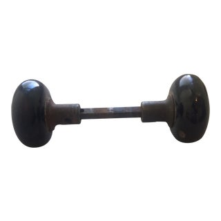Black Porcelain Door Knobs - A Pair