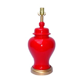 Hollywood Regency Red Lacquer Ceramic Lamp