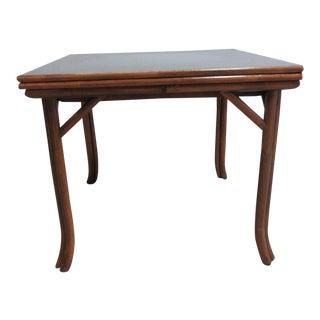 Vintage Mid-Century Rattan & Bamboo Flip Top Table