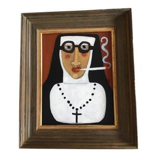 """Rose Walton """"Smoking Nun"""" Contemporary Painting"""