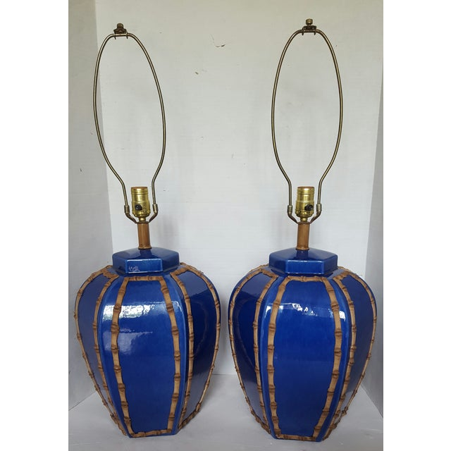 Blue Glazed Faux Bamboo Lamps - A Pair - Image 2 of 3