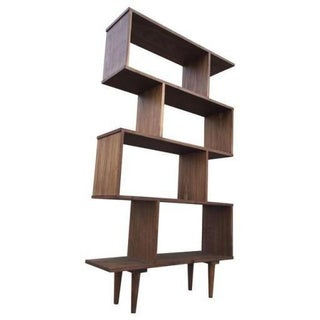 Custom Mid-Century Walnut Book Case Wall Unit