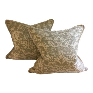 French Fontuny Sage Green & Cream Pillows - a Pair