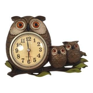 Vintage Mid-Century Owl Wall Clock