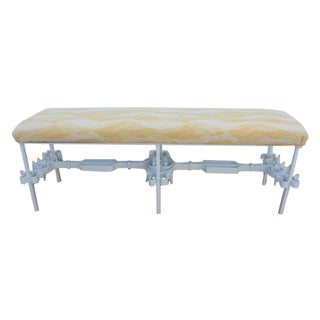 Hollywood Regency Spanish Revival White Iron Bench