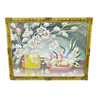 Early Decorative Floral Gesso Framed Still Life Print