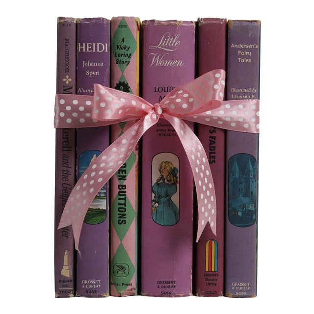 """Midcentury Book Gift Set: """"Lilac"""" Stories For Girls - Set of 6 - Image 1 of 5"""