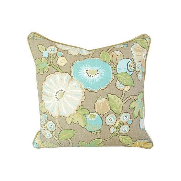 Designer Linen/Velvet Floral Pillows - A Pair - Image 3 of 7