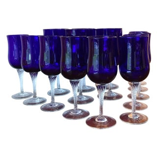 Vintage Hand Blown Blue Glass Goblets - Set of 15
