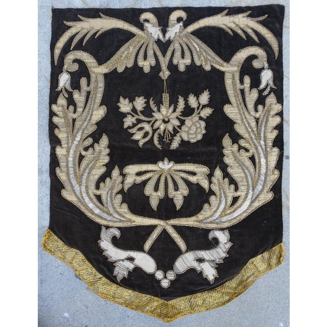 19th Century Italian Gold and Silver Metallic Appliqued Textile - Image 2 of 6