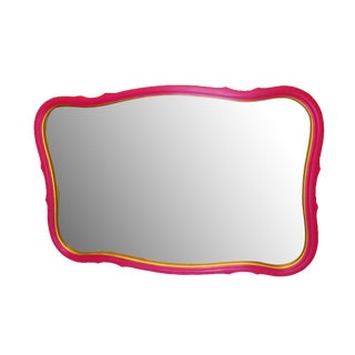 Fuchsia & Gold Scalloped Mirror