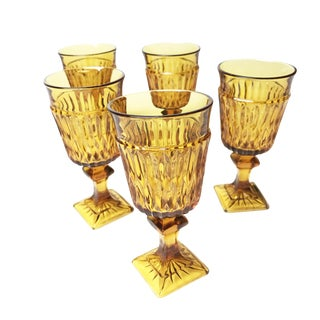 Vintage Mid Century Amber Indiana Glass Mt. Vernon Water Goblets - Set of 5
