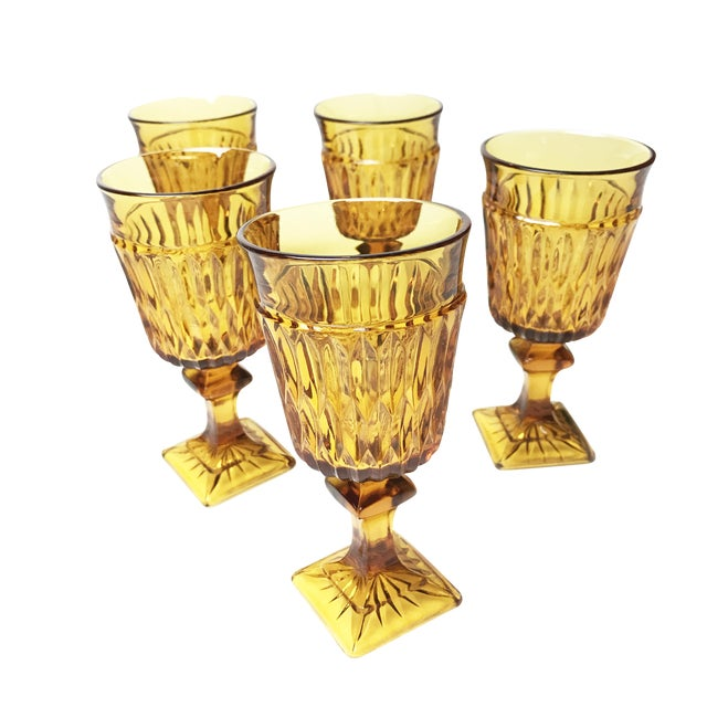 Vintage Mid Century Amber Indiana Glass Mt. Vernon Water Goblets - Set of 5 - Image 1 of 3