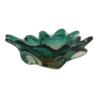 Blue Scalloped Murano Glass Bowl