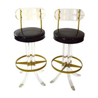 Mid-Century Lucite and Brass Bar Stools
