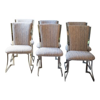 1980's Baughman Style Brass Toned Chrome Dining Chairs - Set of 6