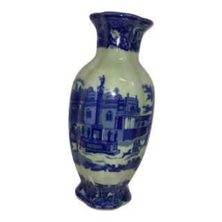 Blue & White European Scene Ceramic Wall Pocket Vase