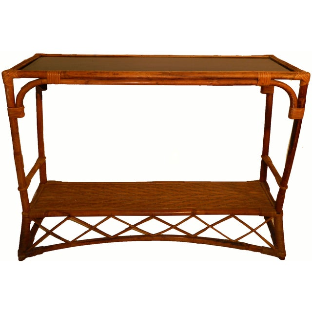 French Vintage Colonial Bamboo Consoles - Pair - Image 4 of 5