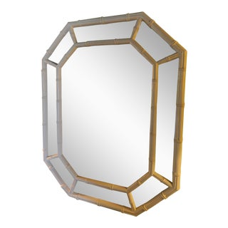 Vintage White Lacquer Faux Bamboo Mirror