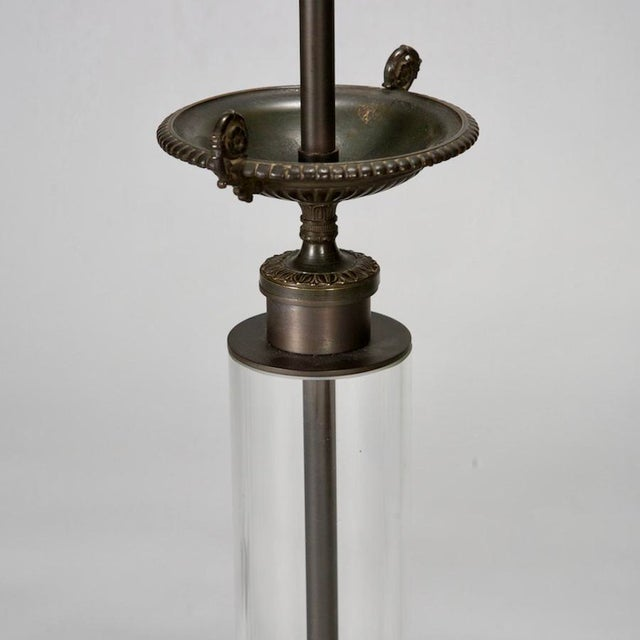 Belgium Custom Glass Column Lamps With Bronze Tazza - A Pair - Image 6 of 7